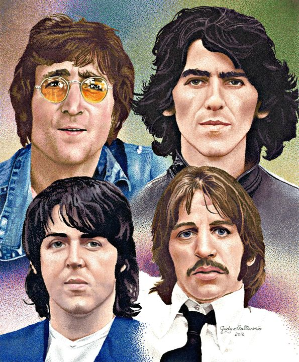 The Beatles - Pointillism Art by Judy