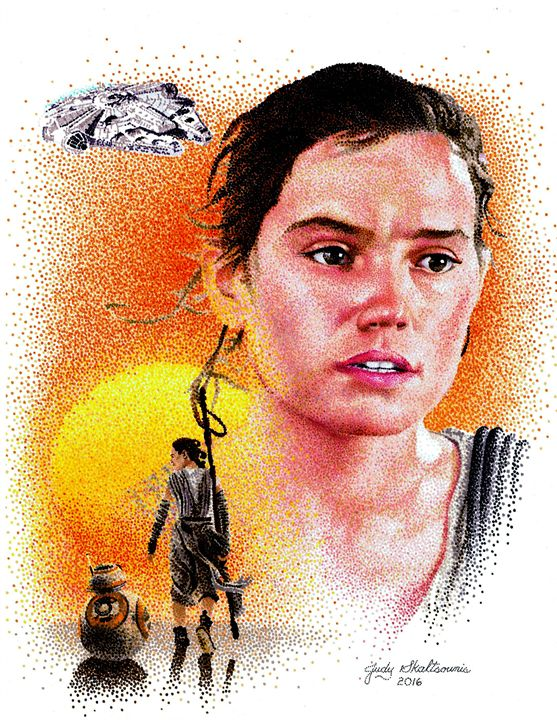 Rey from Star Wars - Pointillism Art by Judy