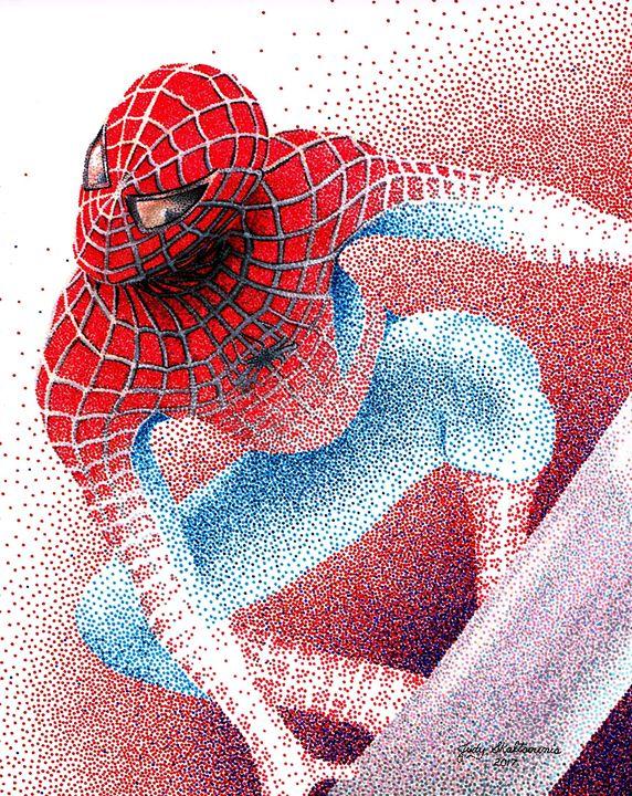 Spiderman - Pointillism Art by Judy