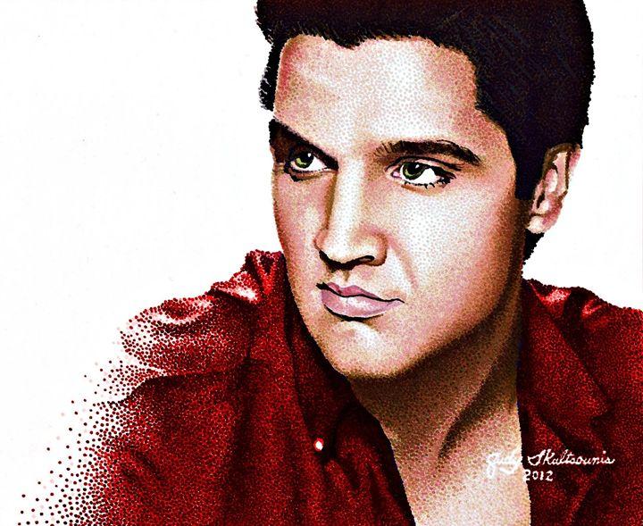 Elvis Presley - Pointillism Art by Judy