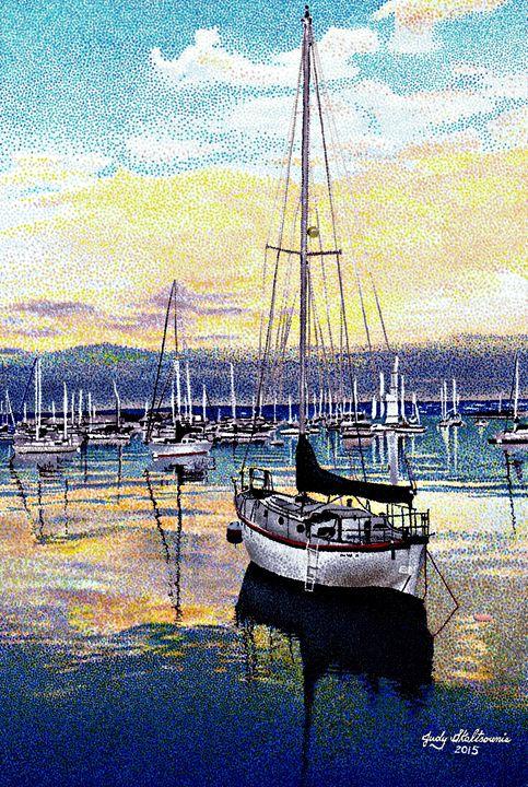 Safe Harbor - Pointillism Art by Judy