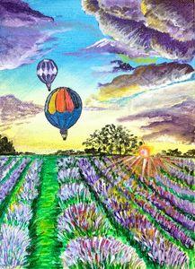 Lavender, Hot Air Ballon Painting