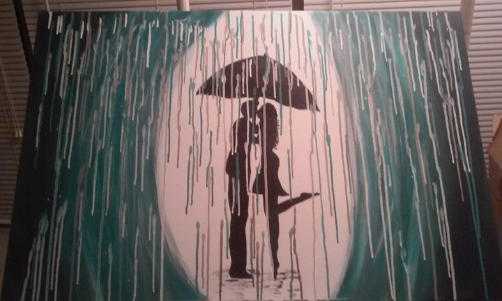 Kissing in the rain - Artful Expressions by Donna