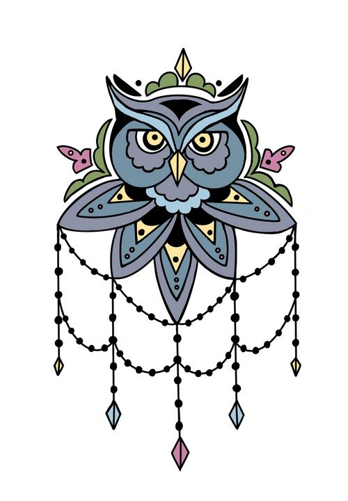 Jeweled Owl - Inkling Art Creations