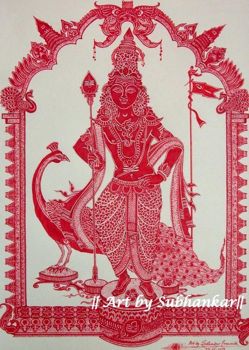 The Hindu God of youth: Murugan - Art by Subhankar