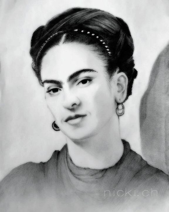 Portrait,graphite,pencil,FridaKahlo -  Nickicha3