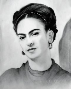Portrait,graphite,pencil,FridaKahlo