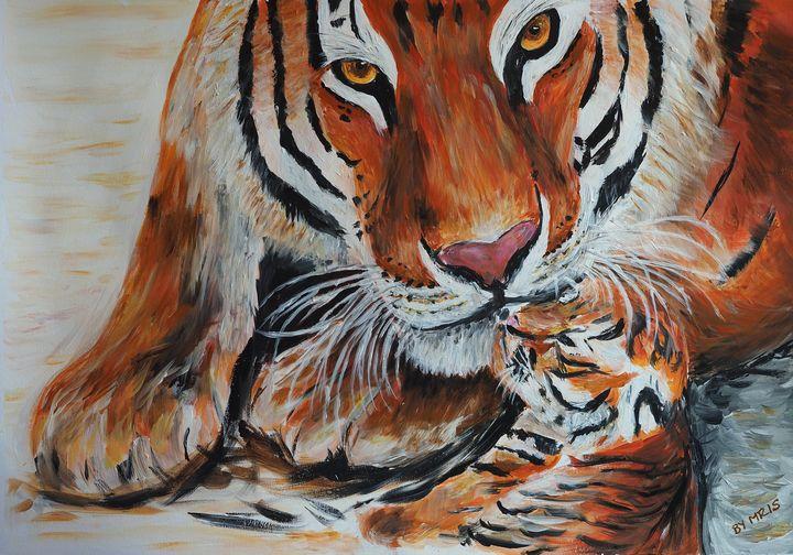 Amur tigress with cub, kissing - By Mris