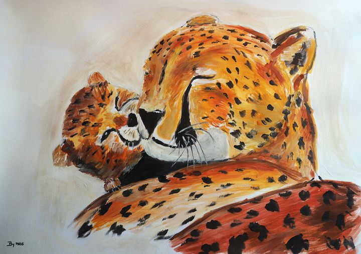 Cheetah mother with cub - By Mris