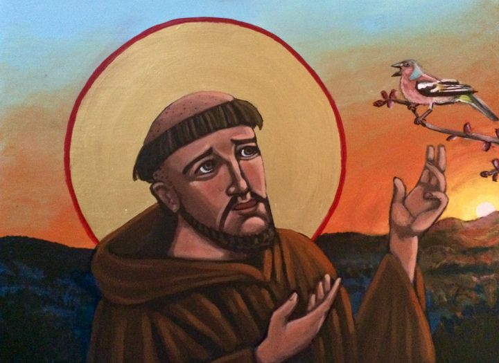 A Bird Preaches to St. Francis - Kelly Latimore Icons
