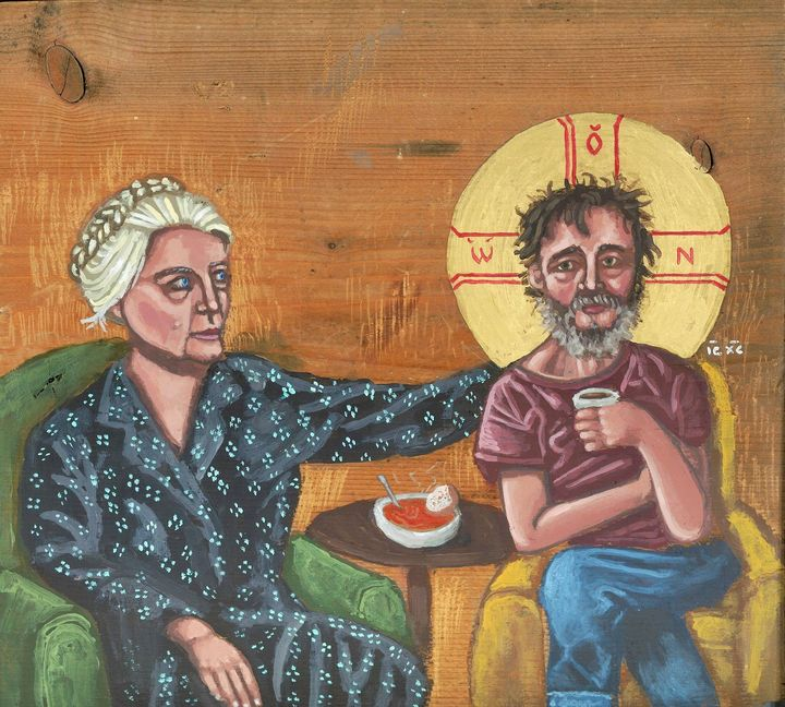 Dorothy Day with Homeless Christ - Kelly Latimore Icons