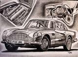 Aston Martin DB5 Graphite Drawing