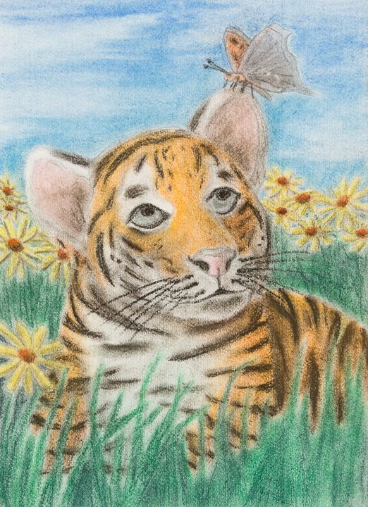 Tiger And Butterfly - JK Art Life