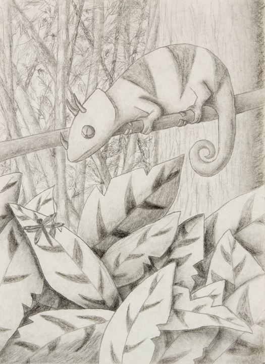 Chameleon in Rain Forest - JK Art Life