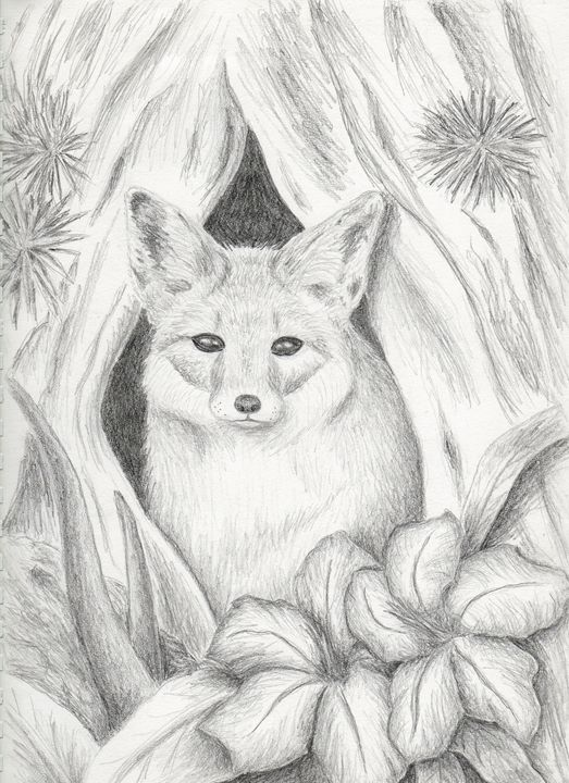 Desert Fox in Hallow Tree - JK Art Life