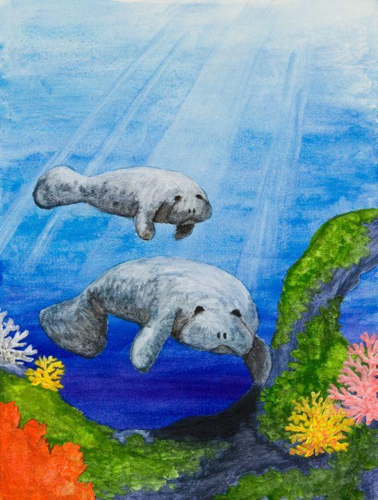Sea Manatees - JK Art Life