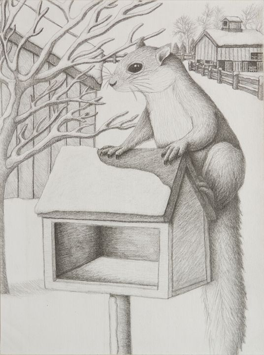 Winter Squirrel - JK Art Life