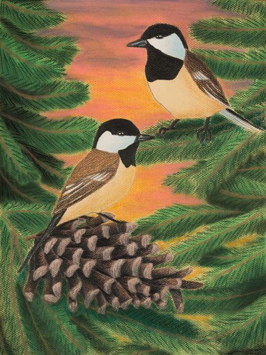 Black Caped Chickadees in Pine Tree - JK Art Life