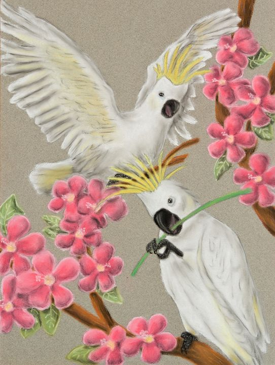 Cockatoo with Flowers - JK Art Life