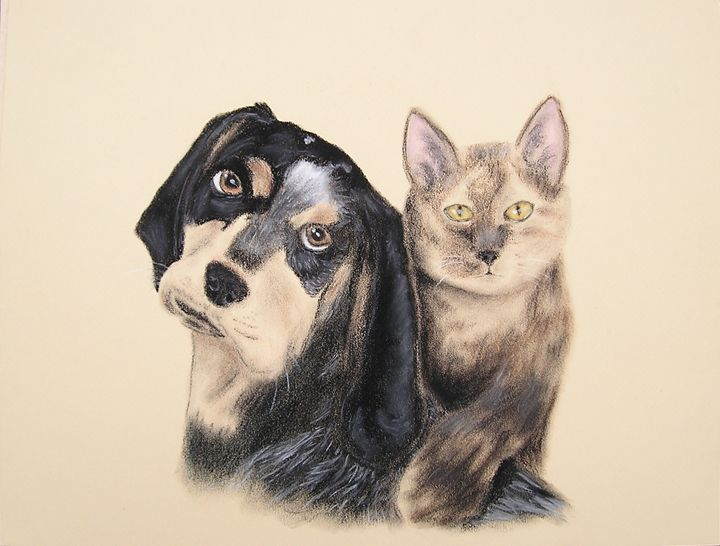 Blue Tick Hound And Calico Cat - JK Art Life