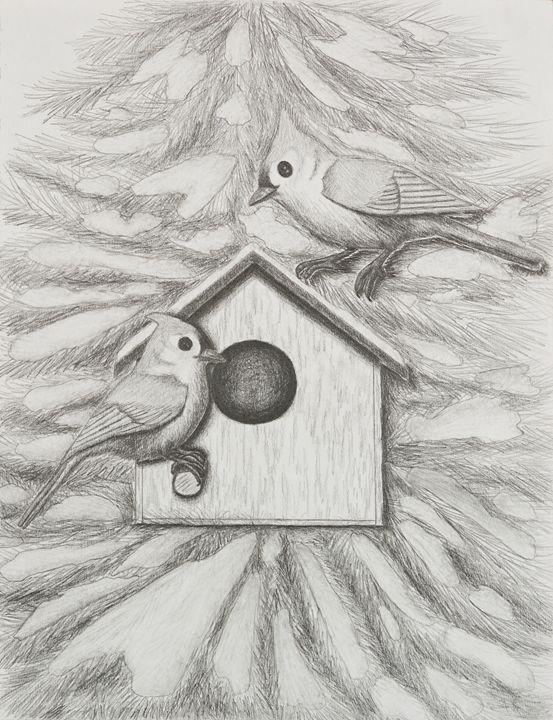 Tufted Tit Mice With Bird House - JK Art Life