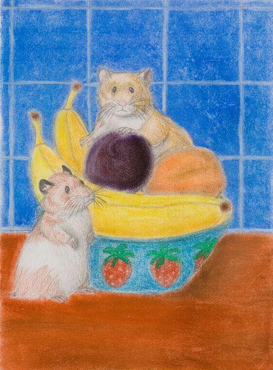 Hamsters In Fruit Bowl - JK Art Life