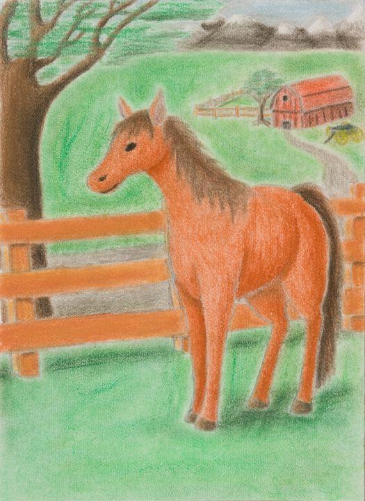 Horse On Farm - JK Art Life