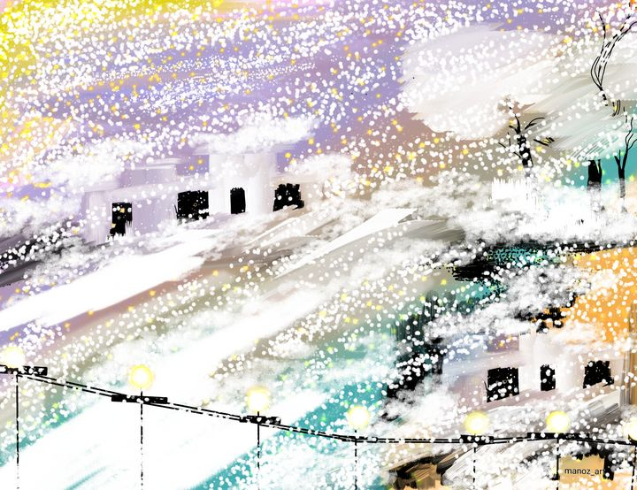 Snow in city welcomes Christmas - Manoz Art