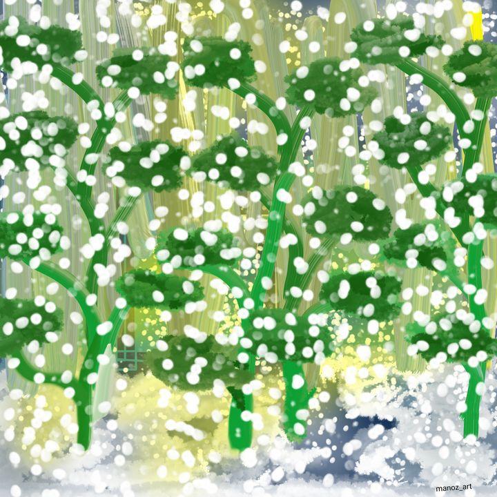 Snow in Green - Manoz Art
