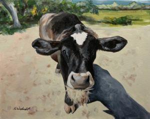 """Feeding Cow"" - The Benevolent Bear Art Studio"
