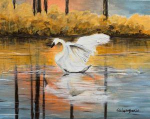 """Swan On Lake"" - The Benevolent Bear Art Studio"