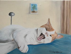 Yawning Kitty - The Benevolent Bear Art Studio