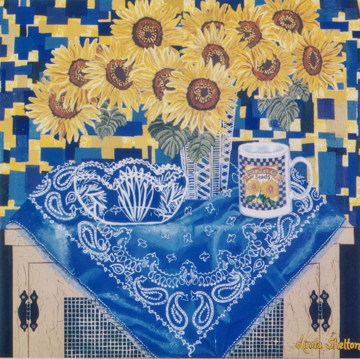 "*""Sunflowers & Bandanna"" - Linda D. Shelton's Paint Box"