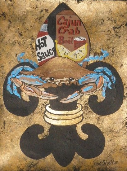 "*""Blue Crab Fleur de Lis"" - Linda D. Shelton's Paint Box"