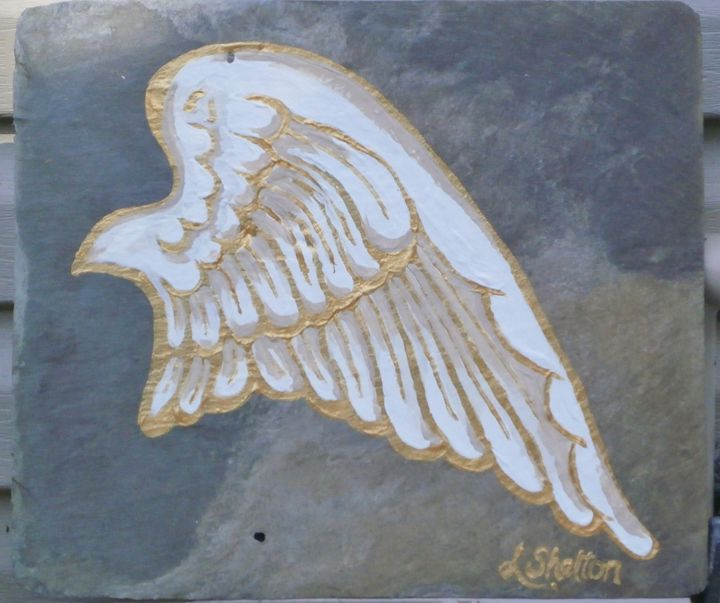 "*""Angel Wing on Slate - #1 - Linda D. Shelton's Paint Box"