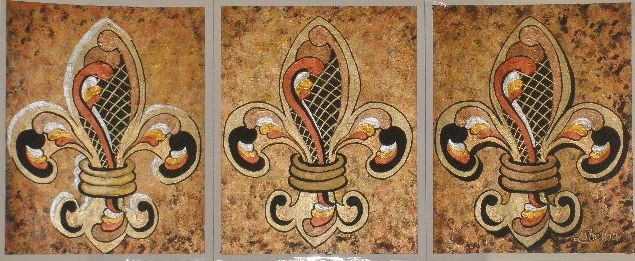 Fleur de Lis Triptich - Linda D. Shelton's Paint Box