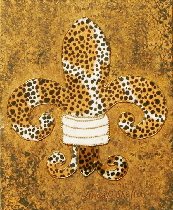Fabric Collage Fleur de Lis - Linda D. Shelton's Paint Box