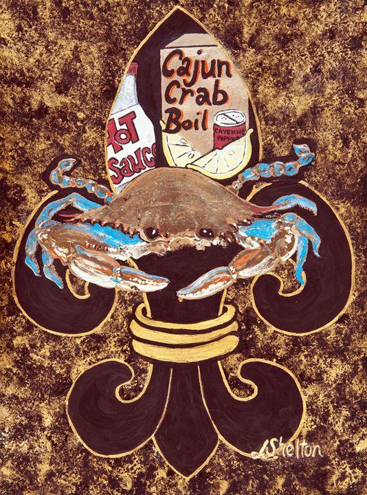 Blue Crab Fleur De Lis Linda D Shelton S Paint Box