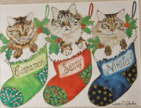 """Christmas Cat Trio"" - Linda D. Shelton's Paint Box"