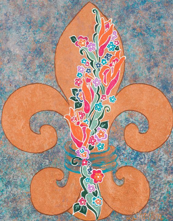 Floral Fleur de Lis - Linda D. Shelton's Paint Box