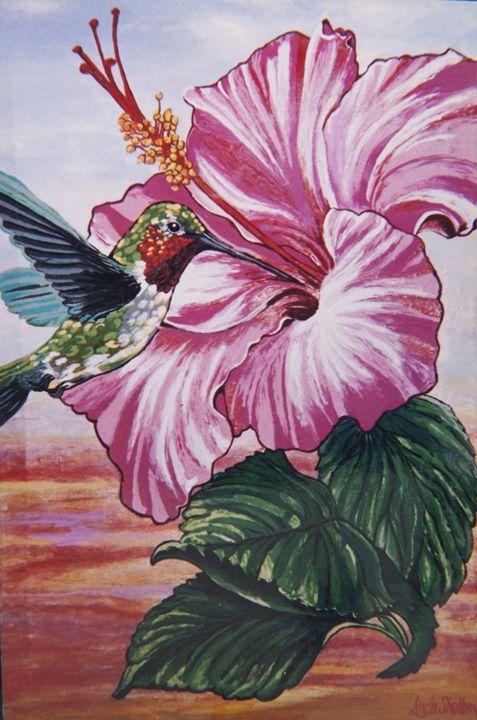 "*""Hummingbird & Hibiscus"" - Linda D. Shelton's Paint Box"