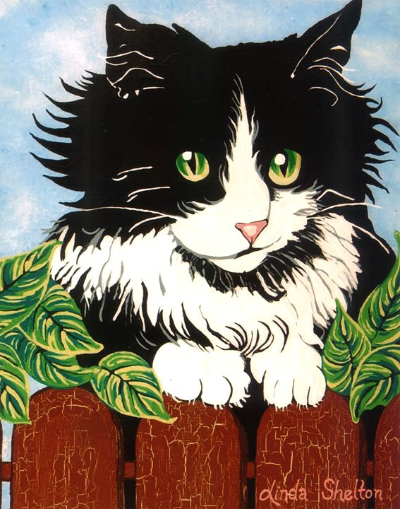 "Temptation - ""Cat Over Fence"" - Linda D. Shelton's Paint Box"