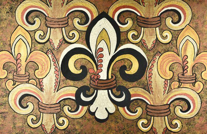 Crackle - Multi Fleur de Lis - #2 - Linda D. Shelton's Paint Box