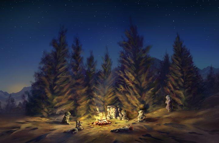 Chrono Trigger - Forest Campfire - Retro Game Art