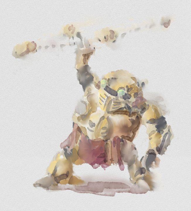 Robo - Watercolor Series - Retro Game Art