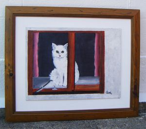 Original Painting The White Cat