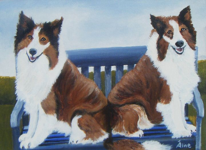 Original Painting Two Collies - Aine Art