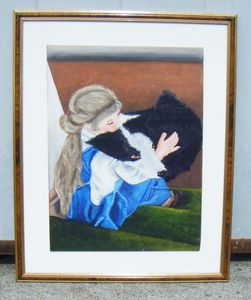Original Painting Girl and Collie