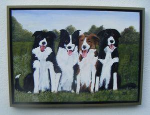 Original Painting  Four Collies.