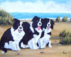 Original Painting Collies on Beach